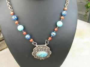 ANTIQUE CHINESE STERLING-CORAL-TURQUOISE ENAMEL COURT NECKLACE-MUSEUM PC!