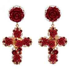 DOLCE & GABBANA RUNWAY Crystal Cross Roses Rose Clips Earrings Gold Red 06437