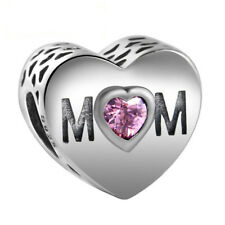 MOM Mum Mother HEART SHAPE Charm Bead 925 Sterling Silver Pink CZ Free Gift Bag