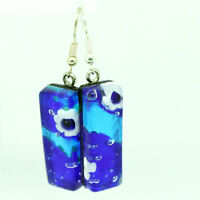 Murano Glass Drop Earrings Light and Dark Blue Handmade Authentic Venetian