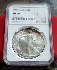 2004 S$1 American 1oz .999 Fine Silver Eagle Coin NGC MS 69 - Rainbow Toning