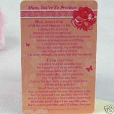 WALLET CARD MUM YOU'RE SO PRECIOUS Purse Keepsake Sentimental Verse Pink Love