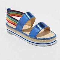 Girls' Metallic Espadrille Platform Rainbow Slide Sandals - Cat & Jack