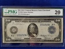 1914 $50 FEDERAL RESERVE NOTE CLEVELAND - PMG VERY FINE 20  - D721323A - Fr#1036