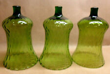 """3 Green Homco Home Interiors Candle Votive Holders 5 1/4"""" T Tiny Scallop Rim"""