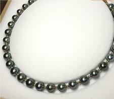 """Huge 18""""12-13mm natural south sea genuine black round pearl necklace AAA"""