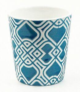 "Ceramic Bathroom Tumbler Childs Cup Turquoise and White 3.25"" Embossed 5 oz EUC"