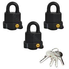 3 x Yale 51mm Y220 High Security Padlock Weatherproof Lock Keyed Alike