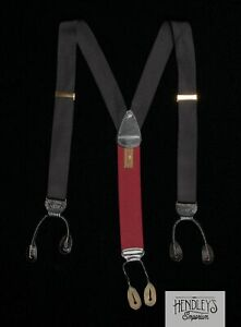 TRAFALGAR Suspenders in Black Tonal Texture Silk Leather Tabs USA