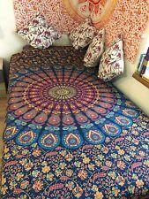 Mandala Überwurf Wandbehang Baumwolle Yoga Deko Tuch Pfau Twin Blau Grün Gelb
