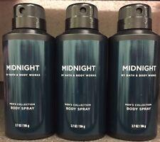 Bath & Body Works Men's Collection MIDNIGHT Deodorizing Deo Spray Set X 3 NEW