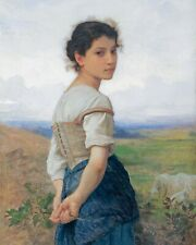 Young Woman Shepherd Girl W Sheep Oil Painting Art Real Canvas Art Print