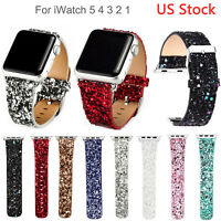 US Bling Christmas Leather Band for Apple Watch Series 6 5 4 3 Strap 40/44/42/38