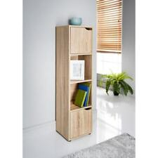 4 Cubes 2 Doors Oak Modular Bookcase Shelving Display Shelf Storage Unit Wood