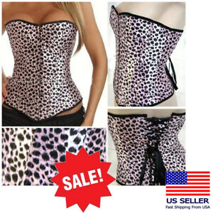 Women's Pink Animal-Pint Spotted Cat Corset Bustier Lace Up Costume Lingerie USA