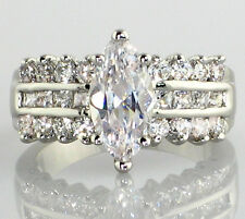 "MARQUISE ""3 Piece Look"" 3.68 Ct. CZ Engagement Bridal Wedding Ring - SIZE 6"