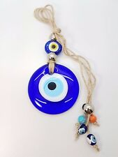 ROUND BLUE GLASS EVIL EYE NAZAR BONCUGU HANGING PROTECTION GOOD LUCK AMULET