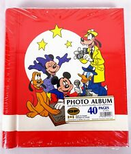 Vintage 80s Disney Mickey Mouse Friends Photo Album Scrapbook Red 40 Pages NEW
