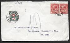 UK SWITZERLAND 1921 MANCHESTER TO ST. GALLEN POSTAGE DUE 10c COVER