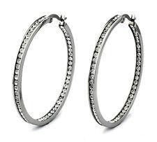 Stainless Steel Eternity Cubic Zirconia Hoop Earrings