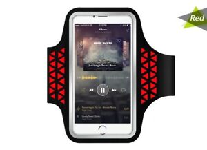 "5"" Reflective Water Resistant Sports Armband Phone/Key Holder - RED - UK STOCK!"