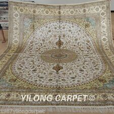 Yilong 8'x10' Large Silk Area Rugs Hand-knotted Carpets Handmade For Sale 1246