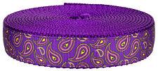 Country Brook Design® 3/4 Inch Purple Paisley on Purple Nylon Webbing, 5 Yards