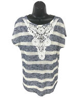 Yuni Los Angeles Striped Knit Tunic Top Women's M Medium Blue Beige Lace Front