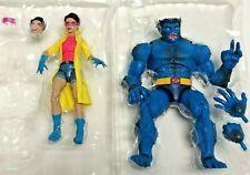 """2-SET Marvel Legends X-Men Caliban Wave BEAST + JUBILEE 6"""" Figures LOOSE NO BAF"""