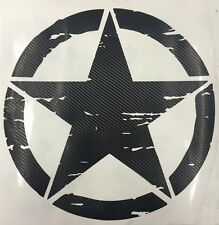 Large JEEP Military Distressed Star Window Decal Sticker Wrangler Carbon Fiber