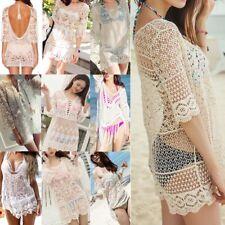 Vestido Largo de Playa De Verano Para Mujer Traje de Baño Bikini De Crochet con Encaje encubrir bathingsuit