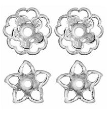 Earring Jackets Set of 2 Flower and Stars Silver Earring Jacket Set