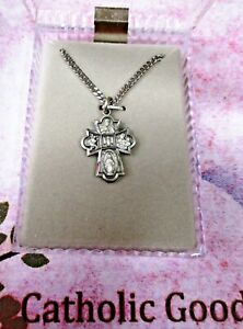 """Four Way Medal -  Pewter - 13/16""""  medal - 18"""" chain"""