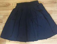 J.W. Anderson short Navy Blue Silk Pleated Skirt Black Waist Size Small S Uk 8