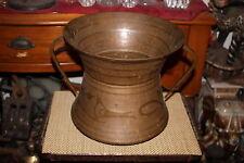 Large Antique Copper Metal Middle Eastern Double Handle Cauldron Spittoon-Birds