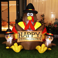 Happy Thanksgiving Inflatable LED Lighted Turkey Family Blow up 6ft Height