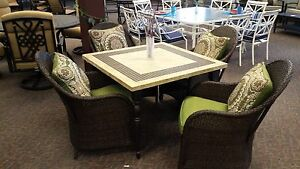 Shoshone 5 piece wicker weather stone table and cushioned club chairs dining set