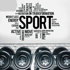 Sports Fitness Motivational Vinyl Stickers Creative Power Quotes Wall Art Decal