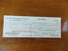 WALTER LANTZ SIGNED WALTER LANTZ PRODUCTIONS PAYROLL CHECK TO HIMSELF 1974