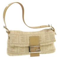 FENDI Zucca Canvas Mamma Baguette Shoulder Bag Beige Wool Auth ar3365