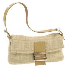 FENDI Zucca Canvas Mamma Baguette Shoulder Bag Beige Wool Auth ar3365