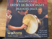 "DARK BROWN PLAIN - 18"" Bodhran Package"