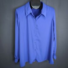 Susan Graver Womens Top Shirt Large Periwinkle Blue Career Long Sleeve Button