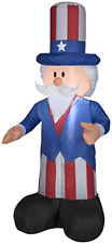 Gemmy Airblown Inflatable Patriotic Uncle Sam with Top Hat July 4th Life Sized -