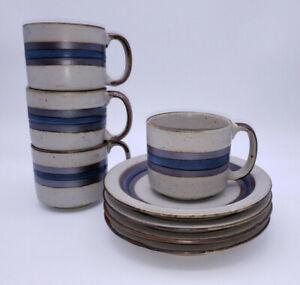 (4) Otagiri Mid Century Modern Stoneware Horizon Mug Cup & Saucer Sets