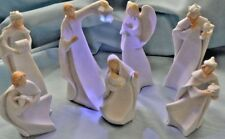 "Nativity figures set of 7 resin 5"" in white Contemporary design, with led light."