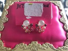 Betsey Johnson Vintage Bows Pink Lucite Carved Dome Rose Gold Cluster Earrings