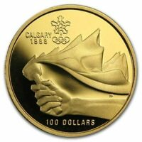 1987 CANADA $100 CALGARY OLYMPICS 14k 1/4oz Proof GOLD Coin w/COA/Case&Box