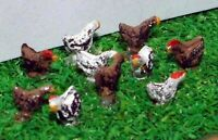 Chickens 10 Railway A71p PAINTED N Gauge Scale Langley Models 1/148 Animals