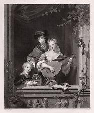 "Beautiful PHILIP VANDYKE 1800s Antique Engraving ""Domestic Harmony"" SIGNED COA"